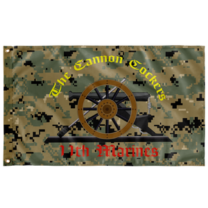 11th MARINE REGIMENT WOODLAND MARPAT 3' X 5' INDOOR FLAG