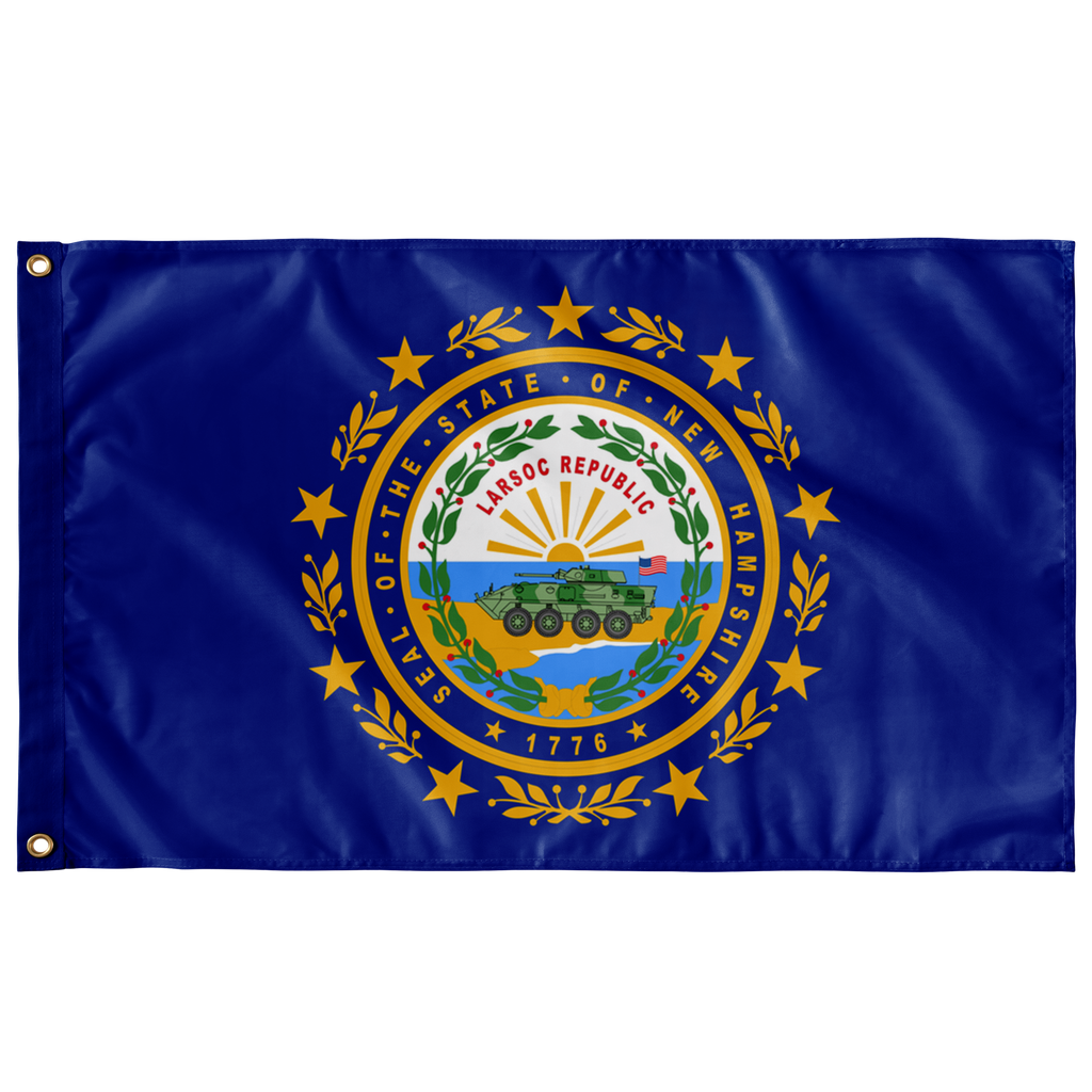 GREAT SEAL of NEW HAMPSHIRE LARSOC 3' 5' SINGLE-SIDED INDOOR FLAG