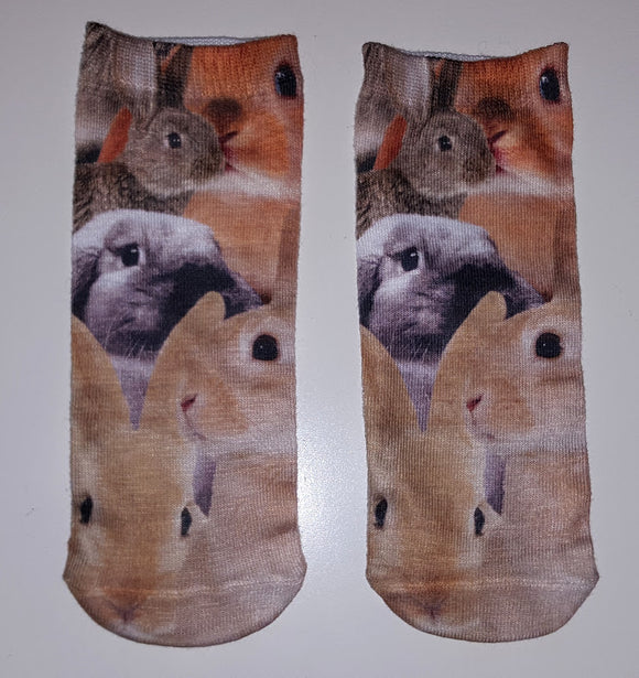 Multi Rabbit Ankle Socks