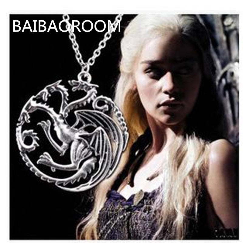 Song Of Ice And Fire Game Of Thrones Daenerys Targaryen Dragon Badge Necklace