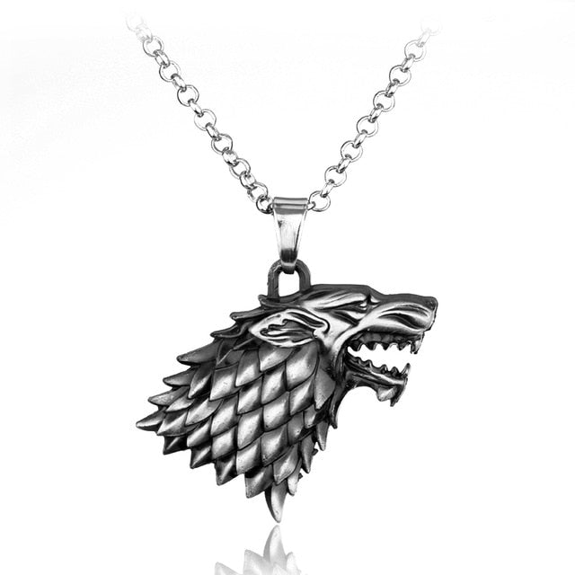 Cool Game of Thrones 3D Wolf Head House Stark Pendant Necklace