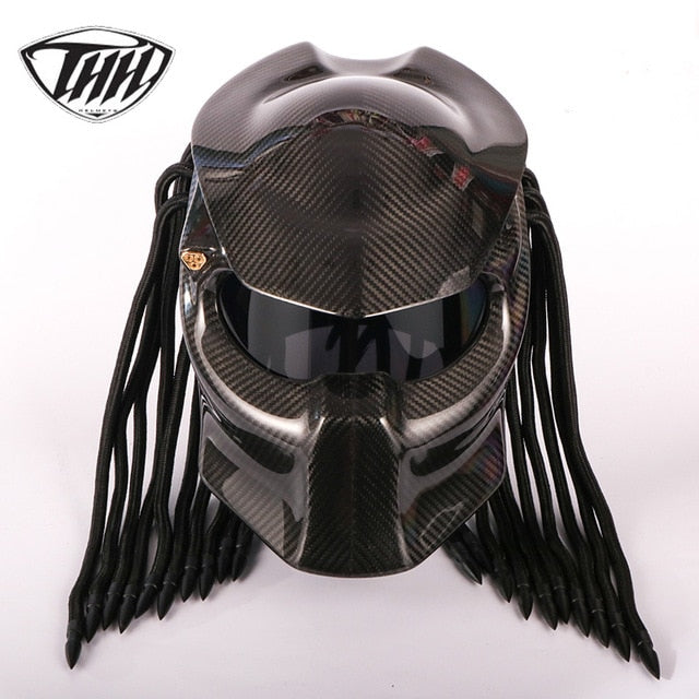 Predator Carbon Fiber Iron Warrior Full Face DOT Motorcycle Helmet