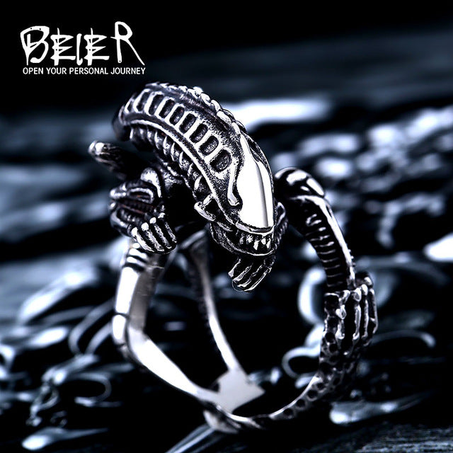 Stainless Steel 3D Alien Predator Finger Ring
