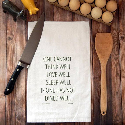 Dine Well Flour Sack Tea Towel - Green Bee - Sixth Wave