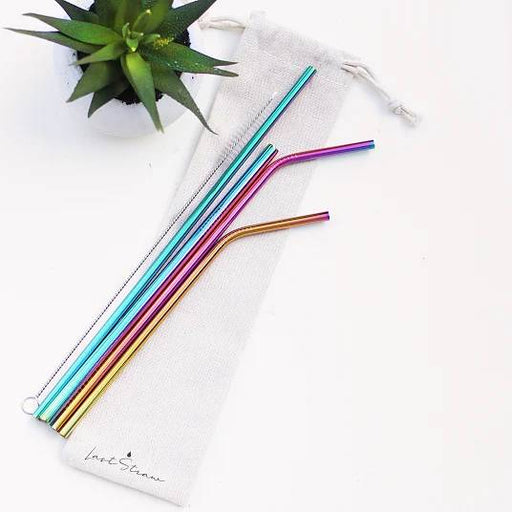 Reusable Straw Set 6pcs - Rainbow