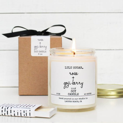 Rose + Goji Berry Scented Soy Candle