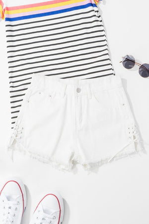 Raw Hem Lace Up Shorts