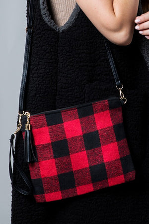 Buffalo Plaid Crossbody Clutch