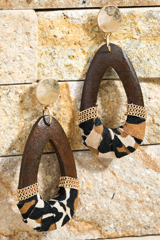 Wooden Tear Drop Earrings With Animal Print Accents