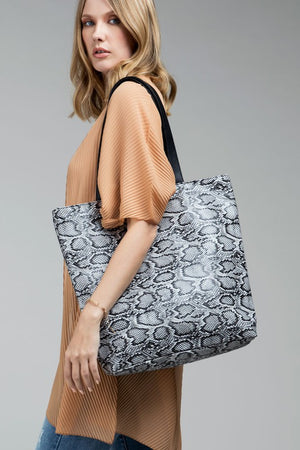 Snake Print Shoulder Tote in Black