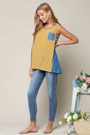 Sleeveless Tank Top with Zipper Back.