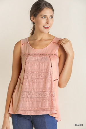 Sleeveless Top With Lace Front Panel