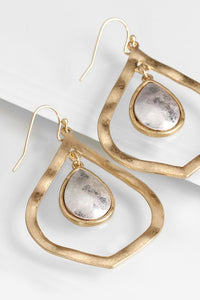 Rose Gold Hammered Tear Drop Earrings
