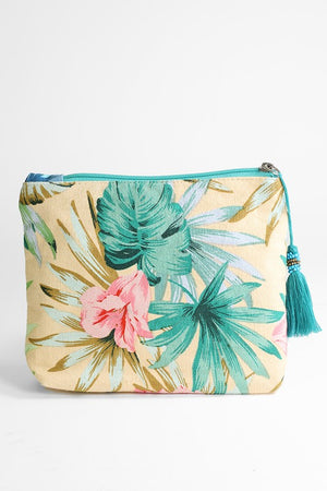 Tropical Print Zipper Pouch