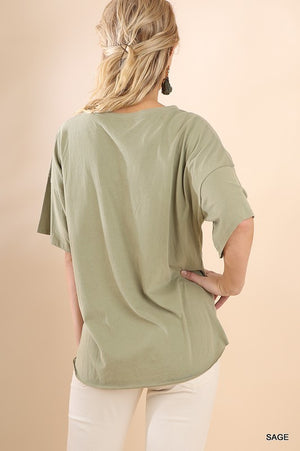 Short Sleeve Round Neck Top With Corset Drawstring Front