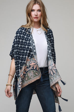 Paisley Print Kimono With Vibrant Border and Tassel Accents