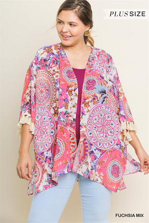 Curvy Medallion Print Open Front Cardigan
