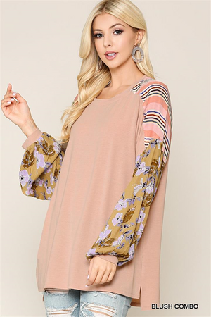 Round Neck Stripe and Floral Mix Top