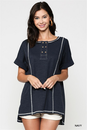 Textured Knit Tunic with Button Front
