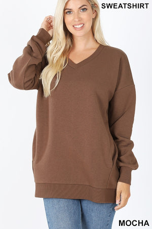 V-Neck Sweatshirt with Pockets