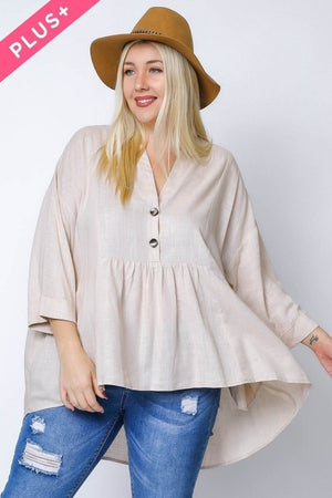 Curvy V-Neck Button Front Tunic