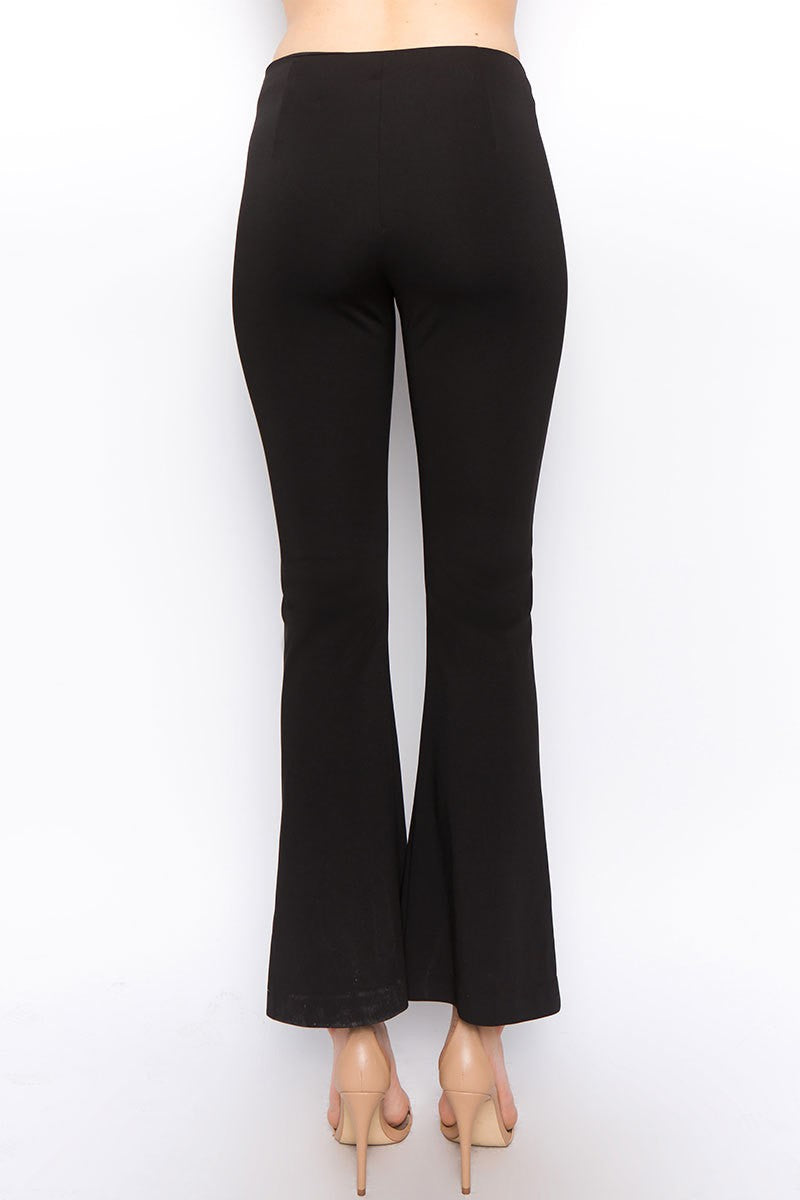 Flared Cropped Pant With Pearl Detail