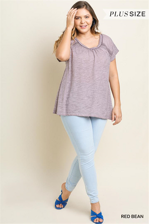 Curvy Garment Dyed Short Sleeve Top