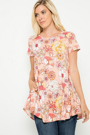 Short Sleeve Floral Strappy Back Fashion Top