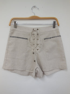 Embroidered Pocket Lace Front Shorts