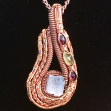 Load image into Gallery viewer, Copper Aquamarine Peridot Garnet Pendant