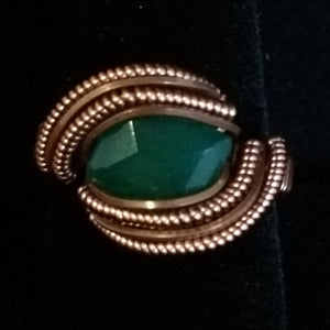 Copper and Green Onyx Ring