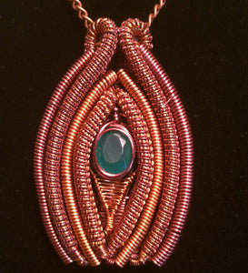 Copper and Green Onyx Venus Pendant