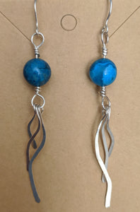 Sterling and Blue Crazy Lace Agate Dangly Earrings