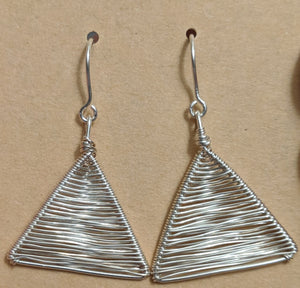 Silver Woven Triangle Earrings