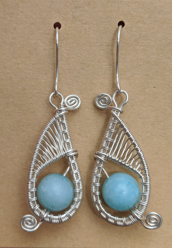 Silver and Amazonite Woven Earrings