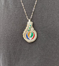 "Load image into Gallery viewer, ""Cosmic Charlie"" Grateful Dead Pendant.  Sterling Silver with Citrine and Green Onyx. Robert Allen Jewelry"