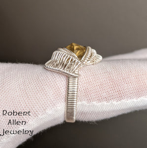 Silver and Rose Cut Citrine Ring, Size 10-3/4 robert allen jewelry sterling handmade art
