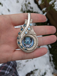 """Frost Your Face"" Silver, Topaz, Larimar, and Glass Stealie Pendant"