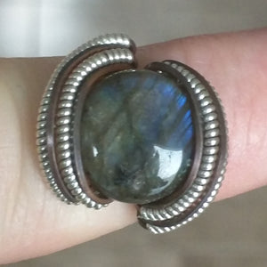 Silver Labradorite Copper Ring