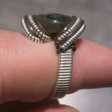 Load image into Gallery viewer, Silver Labradorite Copper Ring