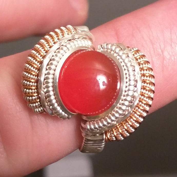 Silver and Red Onyx Ring