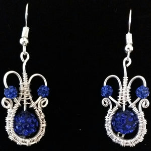 "Silver and Dark Blue Crystal ""Disco Ball"" Earrings"