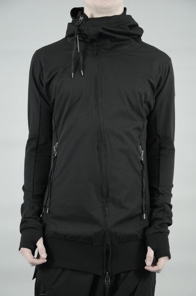 CONTRASTING ZIP UP HOODED SWEATSHIRT 38 BLACK