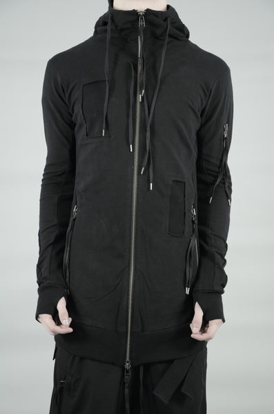 PATCHED ZIP UP HOODED SWEATSHIRT 42 BLACK