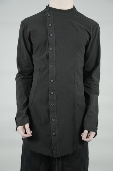 OFF-SET BUTTON UP MANDARIN SHIRT 45 BLACK