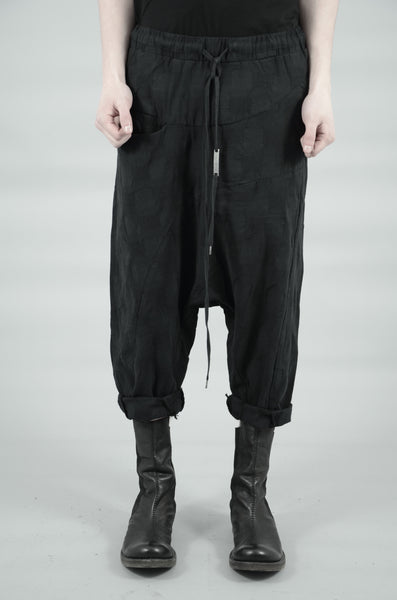 DROP CROTCH CONTRA STRUCTURED TROUSERS 77 BLACK