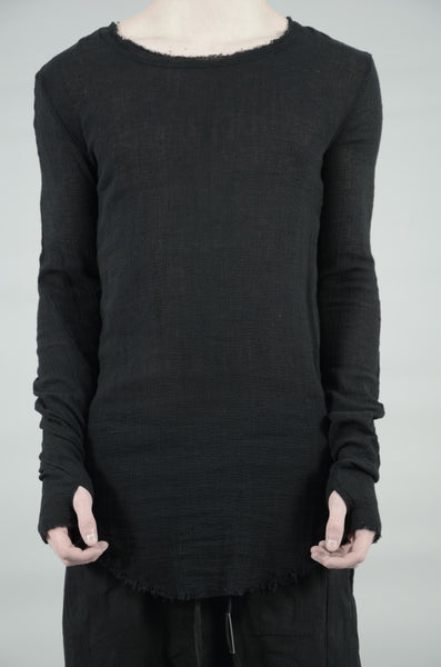 KNITTED LINEN LONG SLEEVE T-SHIRT 34 BLACK