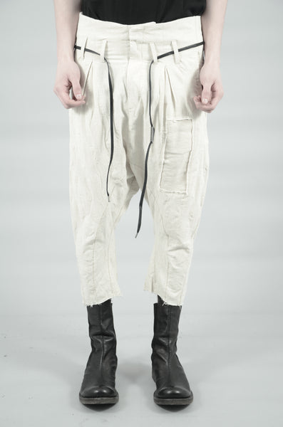 CROPPED CONTRA STRUCTURED LINEN TROUSERS 76 SAND