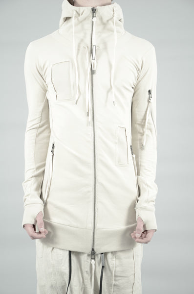 PATCHED ZIP UP HOODED SWEATSHIRT 42 SAND
