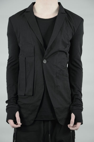 CONTRASTING WOVEN/JERSEY BLAZER 15 BLACK